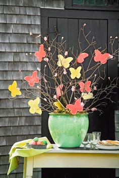 nice spring decoration with paper butterflies on branches