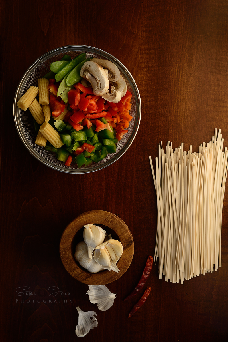Noodles, Udon, garlic udon noodles, SimiJois Photography, food Photography