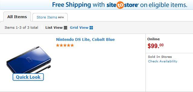 99 Nintendo DS Lite at Walmart/Amazon.com/Target - your choice of 3