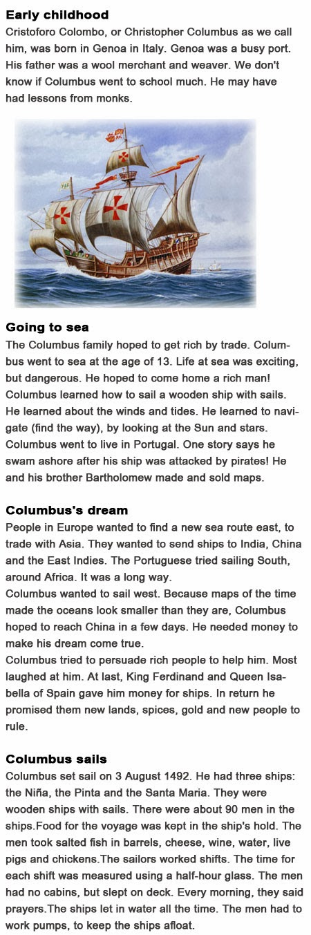 Information about Christopher Columbus for kids