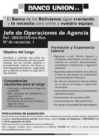 Banco Unión requiere Jefe de Operaciones Agencia Entre Ríos