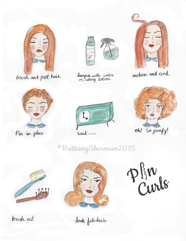 How to do pin curls watercolor art print by Brittany Sherman 2015 at Wacky Tuna on etsy