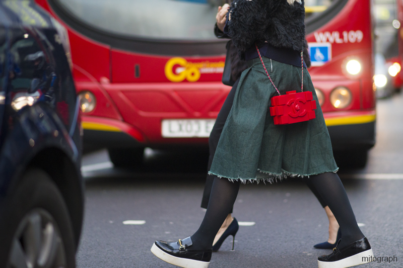 mitograph Francesca Burns Red Chanel Legobag London Fashion Week 2013 2014 Fall Winter Street Style Shimpei MIto