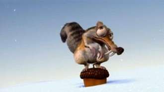 Scrat pounding his acorn into the ground in Ice Age 2002 disneyjuniorblog.blogspot.com