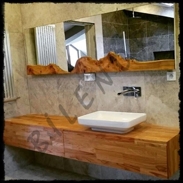 Doğal ahşap banyo tezgahı