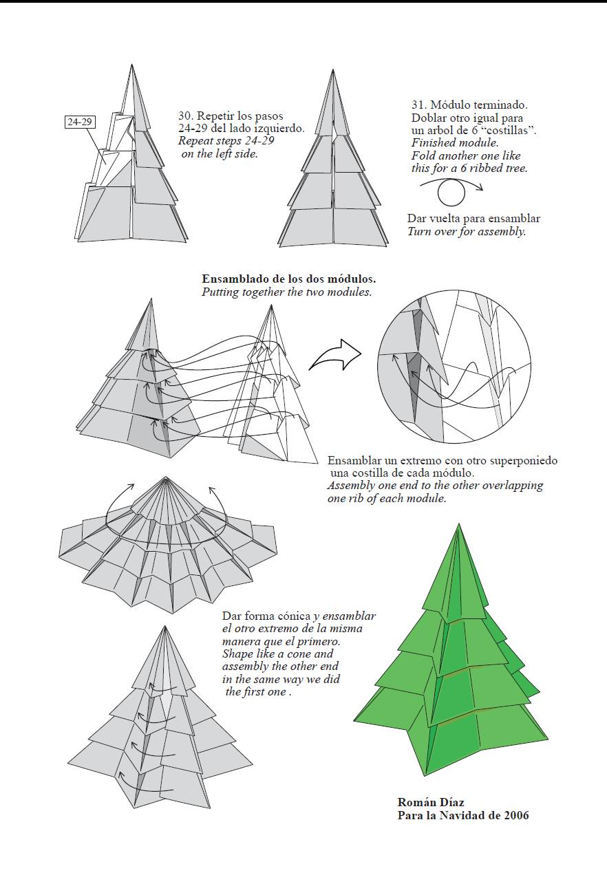 Papiroflexia rbol de navidad en 3d con diagramas - Arbol de navidad de origami ...