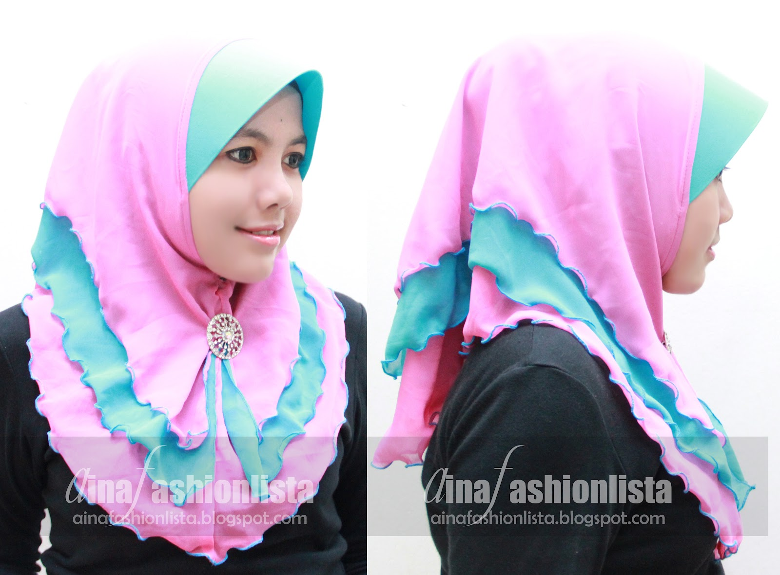 Tudung Chiffon 3 Layer Brooch