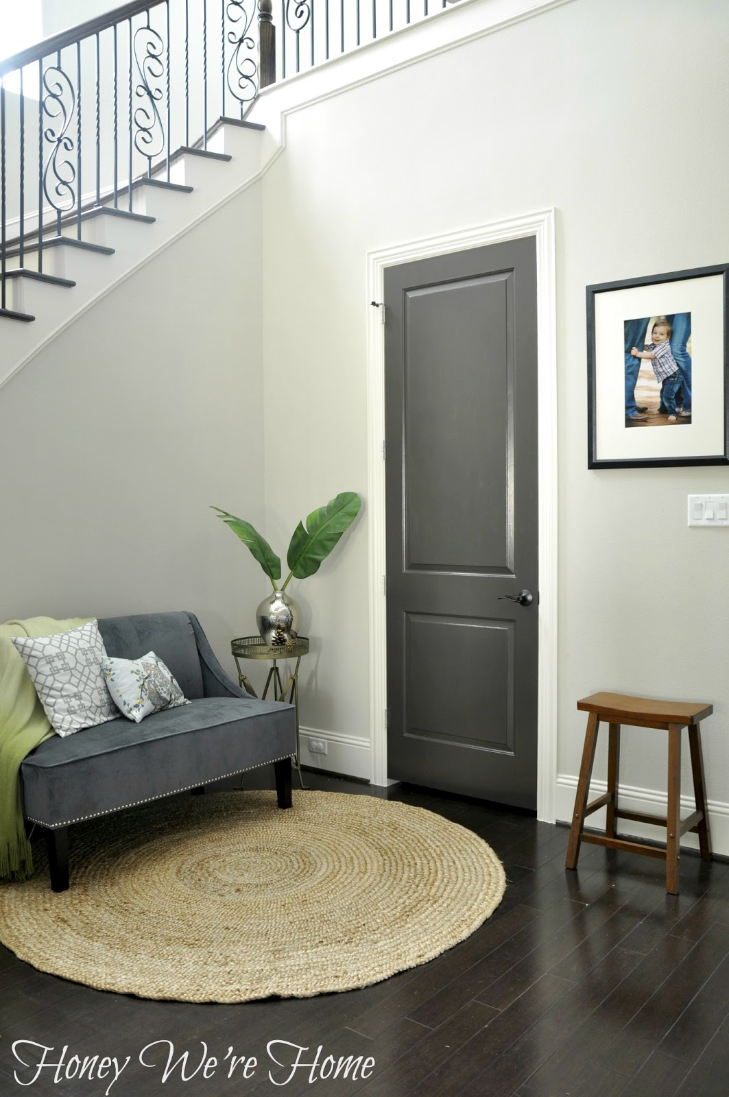 Black gray painted interior doors honey we 39 re home for Dark grey interior