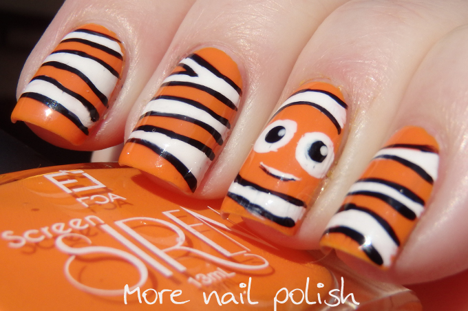 31dc2014 day 02 orange nemo nails more nail polish the 31 day challenge day 2 orange nails prinsesfo Gallery