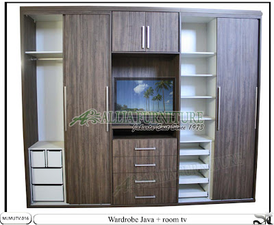 Lemari minimalis sliding tv unit Java