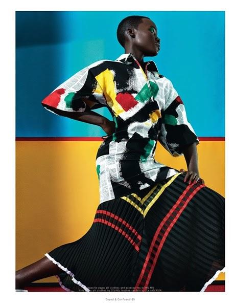 Céline 2014 SS Editorial : Brassai Brush Stroke Newspaper Print on Wool Satin Top