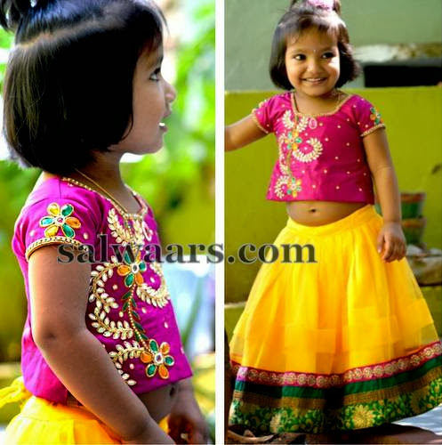 Stylish Baby in Lime Yellow Skirt