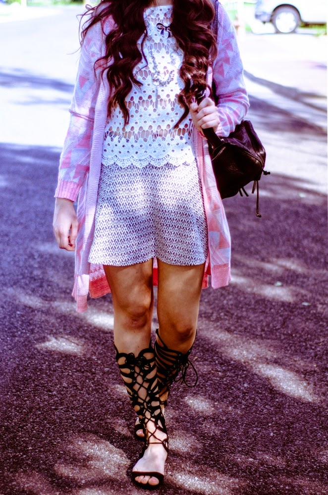 Aeropostale, Aeropostale festival style, festival style, pretty, what to wear to a festival, lace top, aztec cardigan style, aztec cardigan, aztec skater skirt, skater skirt, grey skater skirt outfit,