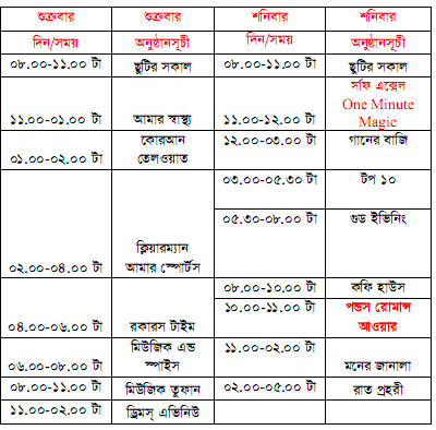 Radio Aamar 88.4 FM, Program Schedule ~ BD Show Time