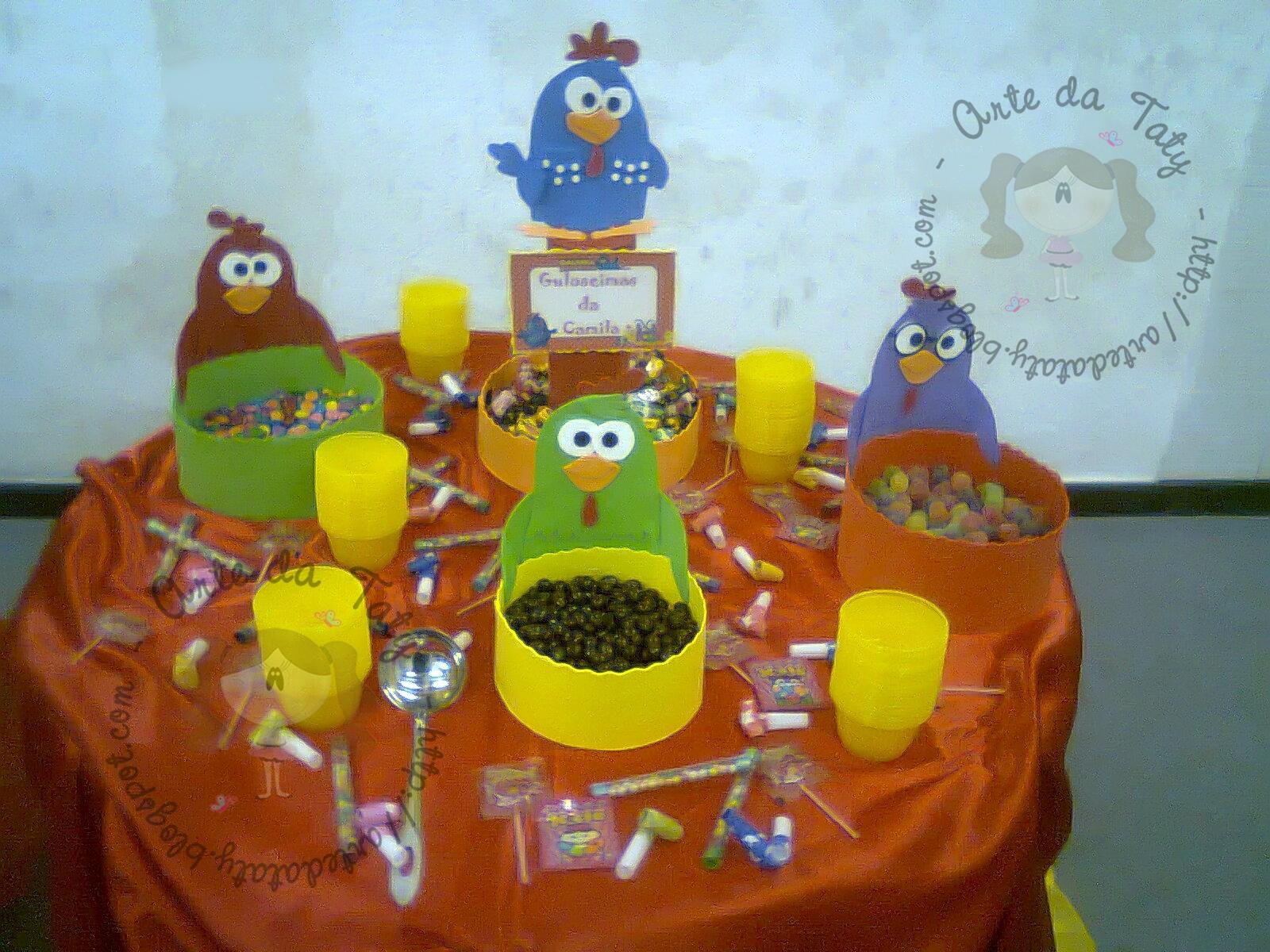 Decoração para mesa de guloseimas - Galinha Pintadinha