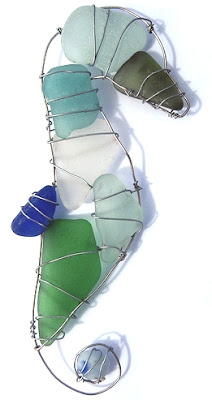 wire seahorse with sea glass