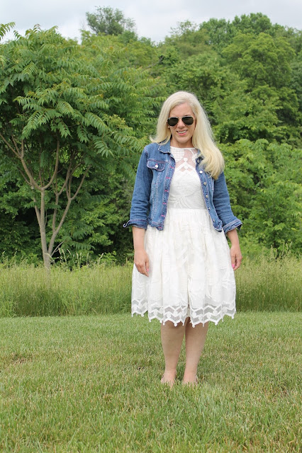 anthropologie pina lace dress lilly pulitzer jean jacket ray ban