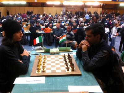 Krishnan Sasikiran a eu à se battre pour obtenir la nulle face au jeune italien Guido Caprio - Photo © Chess & Strategy