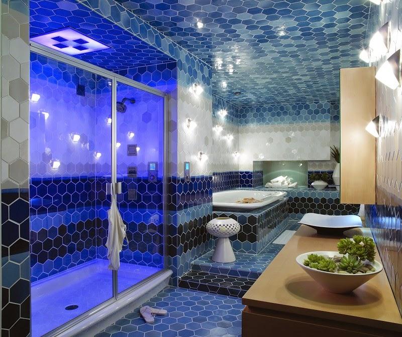Baños Modernos Azules:Decoración de baño moderno donde el azul lo podemos apreciar en el