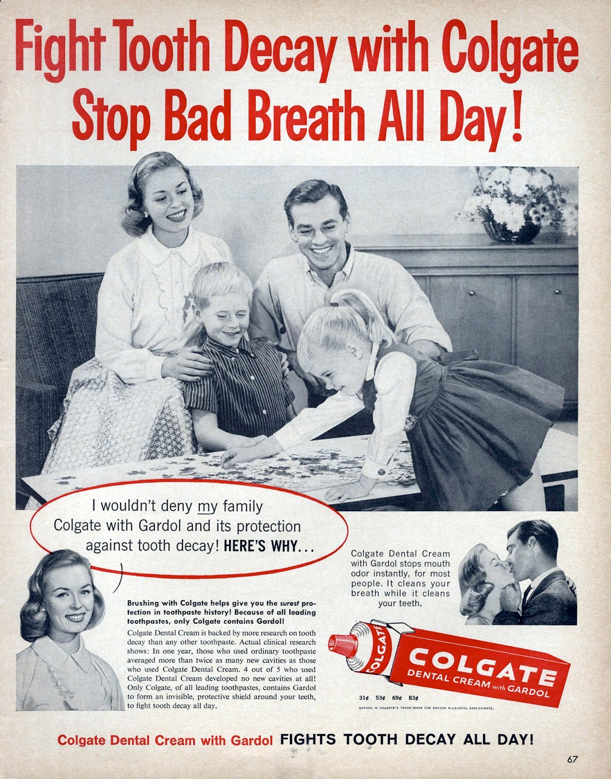 The Visual Primer Of Advertising Cliches Fight Tooth Decay With Autoette 24 Volt Wiring Diagram Colgate Stop Bad Breath All Day 1960