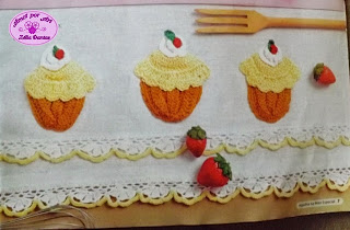 Barrado cupcake de crochê para pano de prato com gráfico