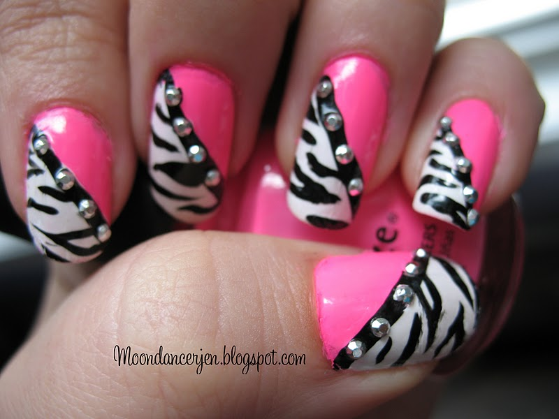 Zebra Nail Art With Hot Pink Tips 10