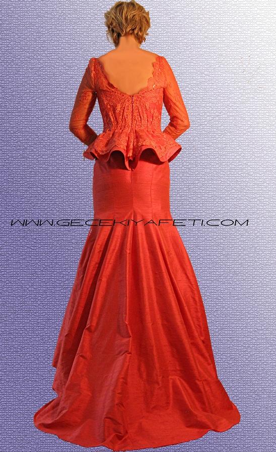 Mercan Rengi Özel Tasarim Gece Elbisesi