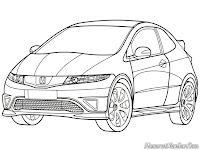Mewarnai Gambar Mobil Honda Civic Type R