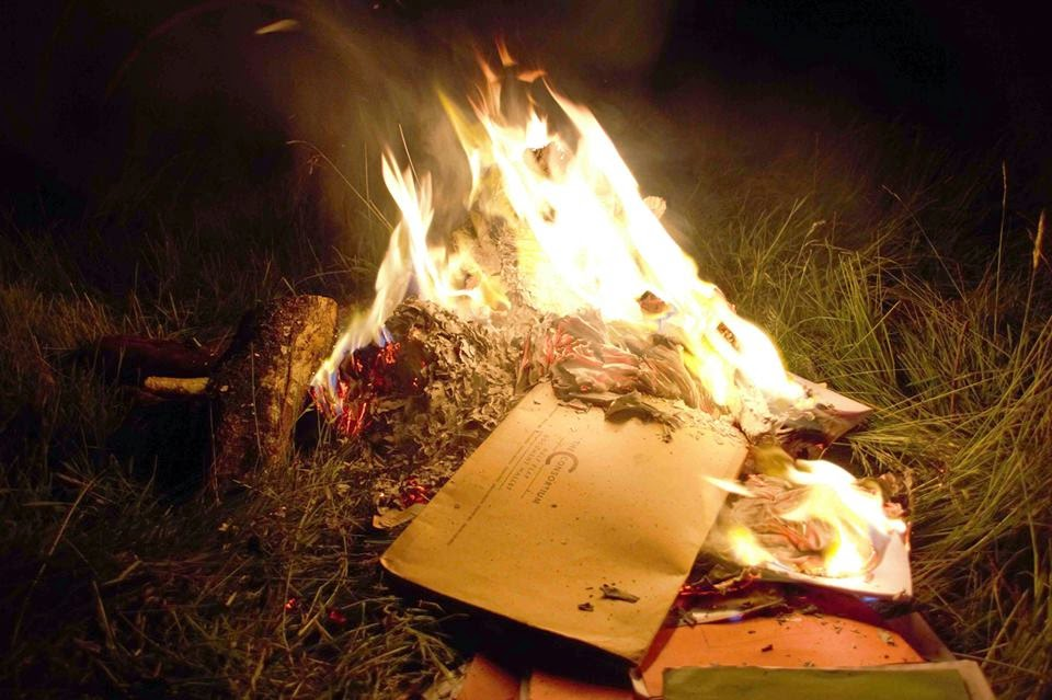 bonfire, camp, school books