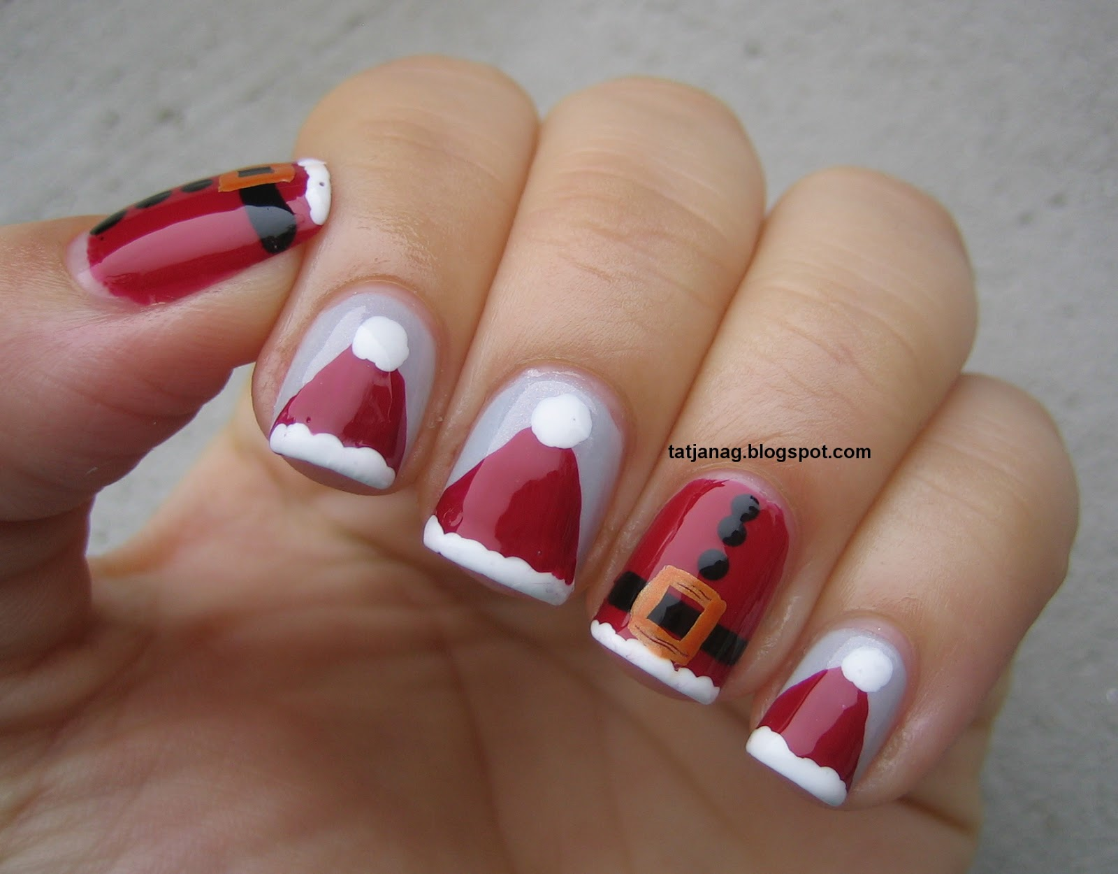 Simple Christmas Nail Design Ideas Art Santa S Hats And Dress Taya