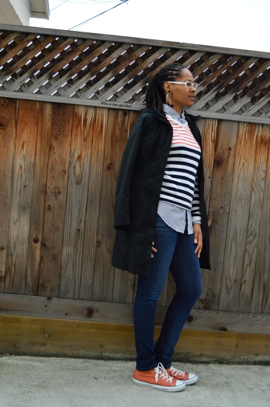 stripes on stripes + trench pose 1 {who is that girl mo?}