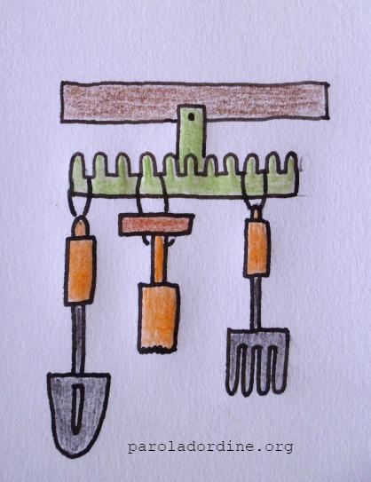lastanzaverdedicri disegno rastrello porta attrezzi