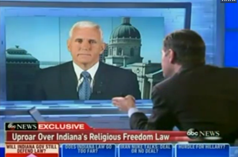 """ABC's Stephanopoulos Grills Gov. Mike Pence On Anti-LGBT Discrimination After Indiana """"Religious Freedom"""" Law Passes"""