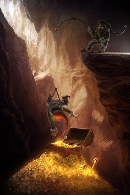 Timo Mimus crackbag deviantart ilustrações fantasia arte conceitual Duendes e o tesouro