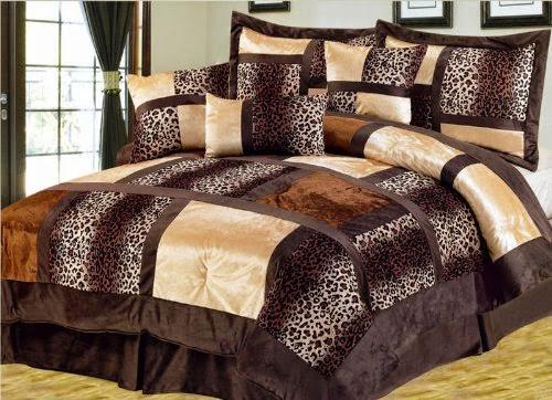 7 Pcs Queen Leopard Micro Suede Comforter Set