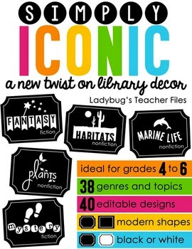 http://www.teacherspayteachers.com/Product/Simply-Iconic-Customizable-Library-Labels-1367784