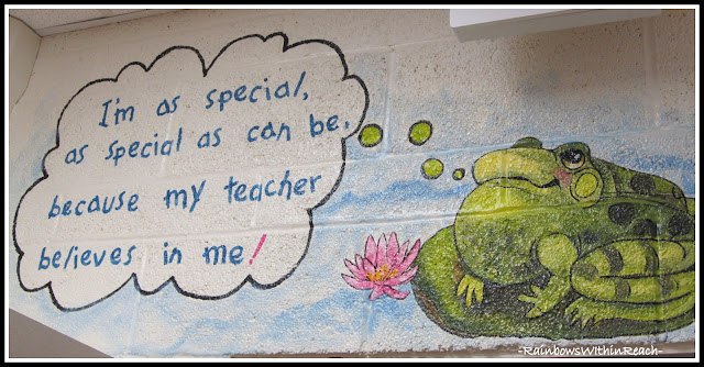 photo of: Kindergarten Painted Wall Mural: My Teacher Believes in Me