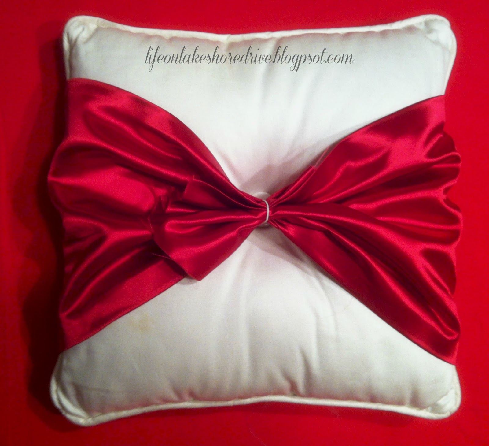 Easy No Sew Pillow With Red Satin Bow Tutorial