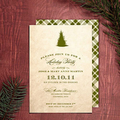 printable diy holiday party invitation vintage pine tree typography elegant classic traditional