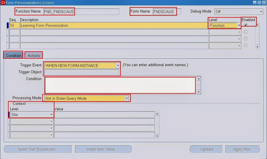 R12 Oracle Apps: Form Personalization with Examples