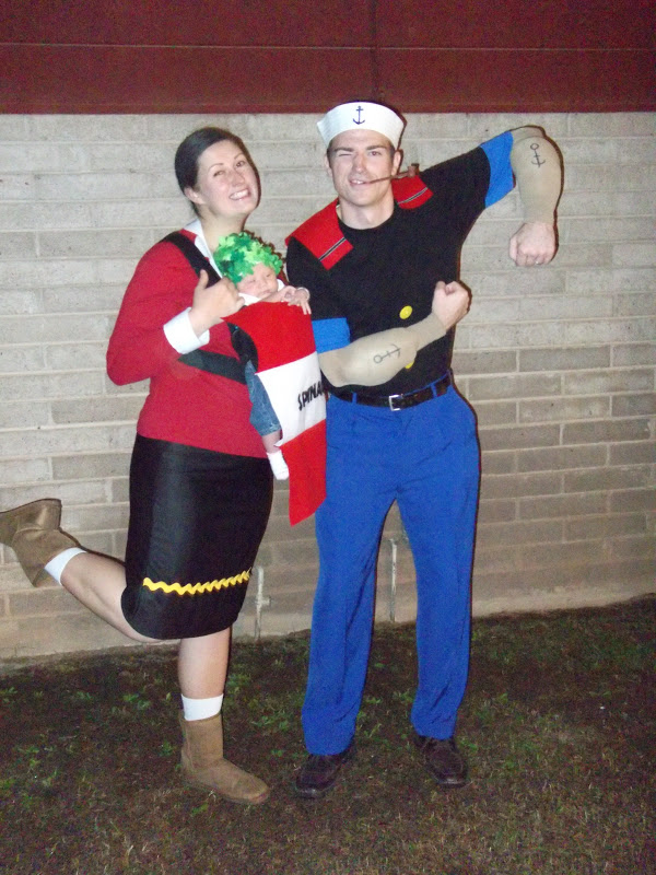 our family halloween costume popeye olive oyl and baby spinach it was fun hunting down pieces for our costumes and making whatever else was necessary
