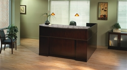 Wood Reception Desk with Granite Counter Top