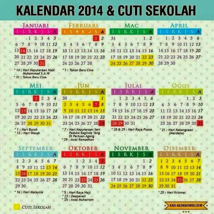 takwim kalender cuti sekolah 2014