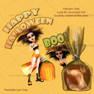 free halloween pumpkin gal preview Free Halloween Pumpkin Girl PNG Images