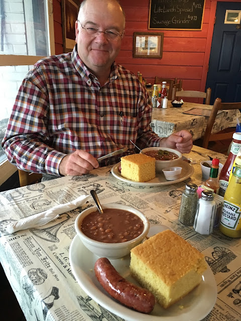 Eating at Wheelers-#3 Cornbread & Beans with choice of German sausage-Fredericksburg, Texas