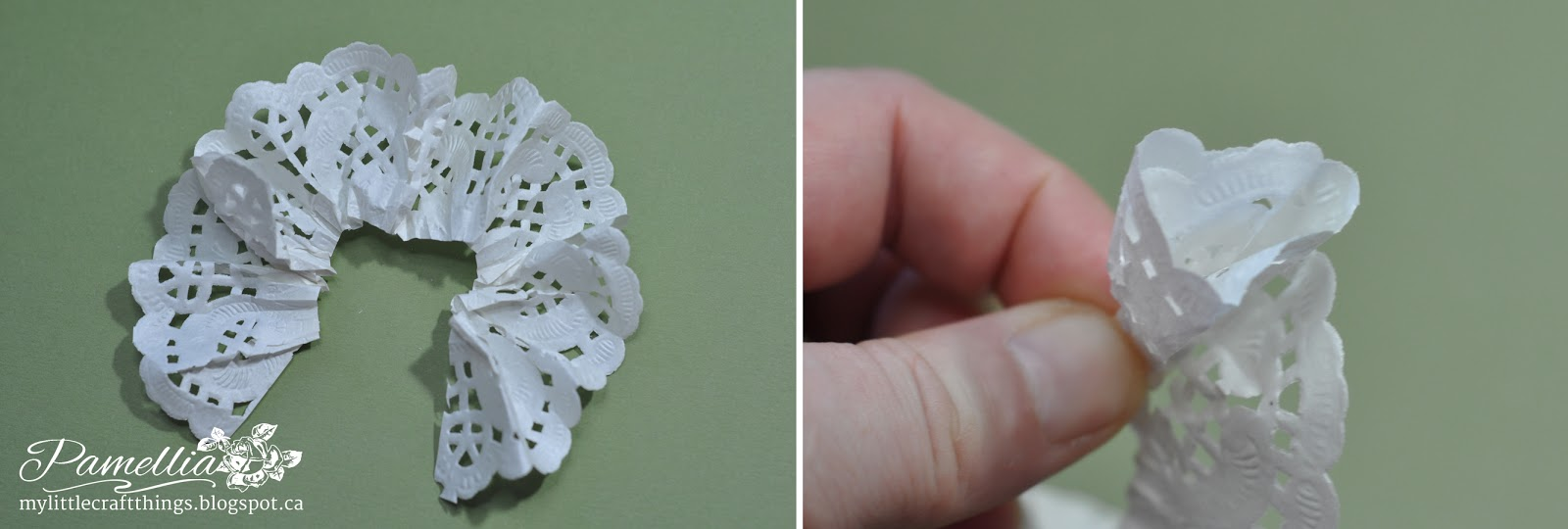 My little craft things doily flower tutorial a beautiful gift here is what it looks like after the scrunching now you are going to use your thumb and finger to pinch the bottom and start rolling it up mightylinksfo