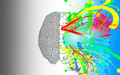 illustrated image of left and right side of brain.  Left in black in white.  right has colorful abstract design.