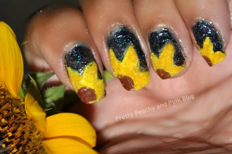 sunflower manicure using Picture Polish do you wanna see my peacock