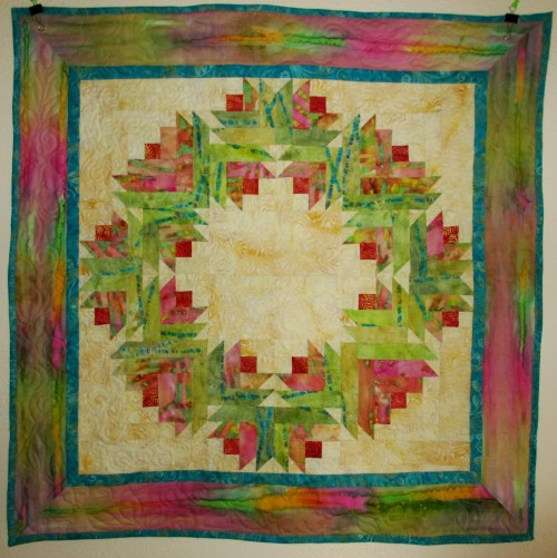 Summer Song Watercolor Flower Wreath Quilt