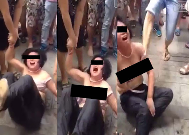 Alleged Child Trafficker in Hunan China was Caught, Stripped and Assaulted on the streets